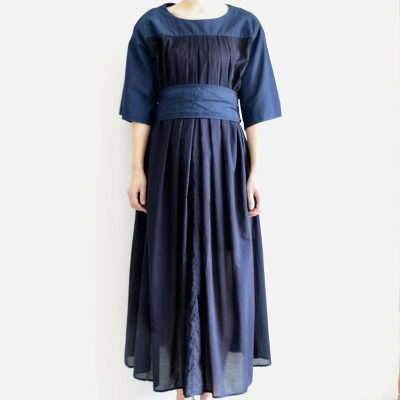 COSMIC WONDER /Organic cotton front tuck dress (lady's /RYUKYU INDIGO)