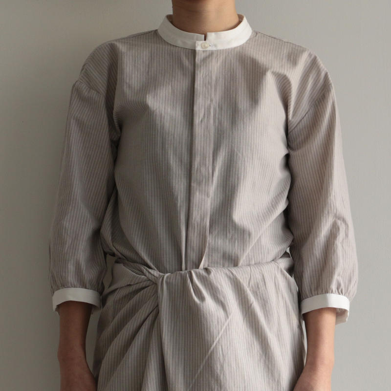 COSMIC WONDER /   Light linen mandarin collar shirt(lady's/GRAY STRIPE )