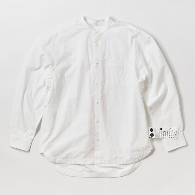 BASUKIA BAND COLLAR SHIRTS -WHITE-