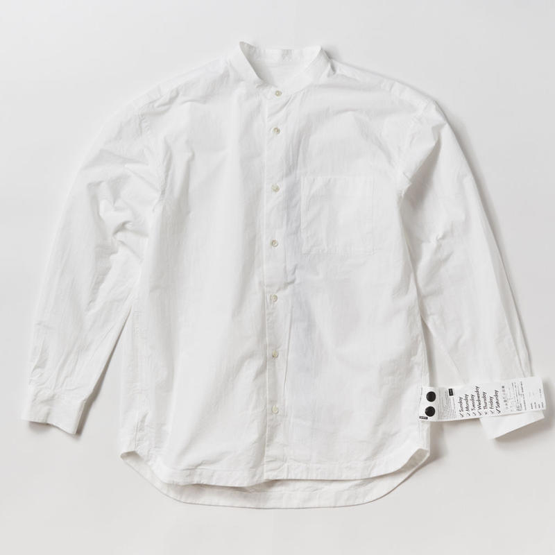 LIAM BAND COLLAR SHIRTS  -WHITE-