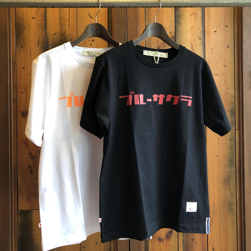 "BASIC T-SHIRT  ""AOSAKURA"" 【BLACK-RED】/ BS-S3-CSP02-bk-re"