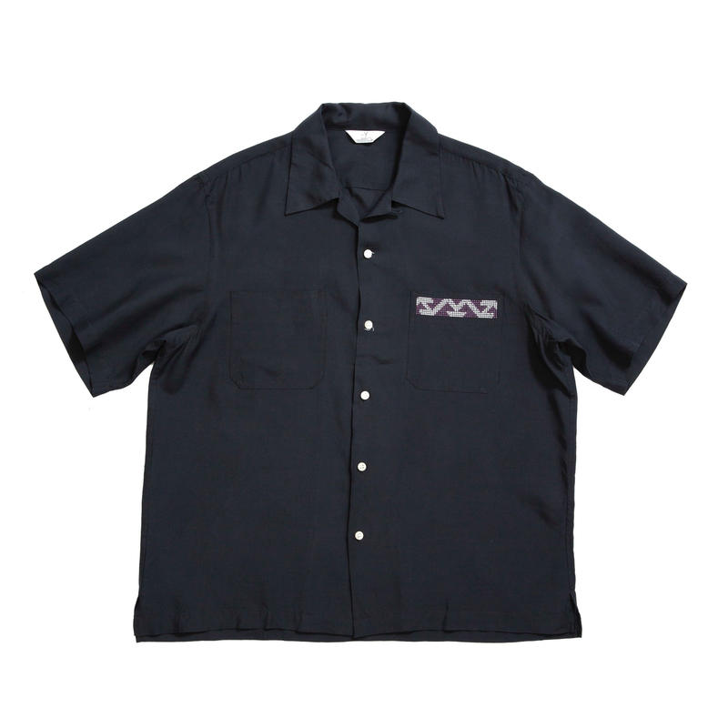 RAYON OPEN COLLAR SHIRTS /  BLACK  / 13B19SH02SA
