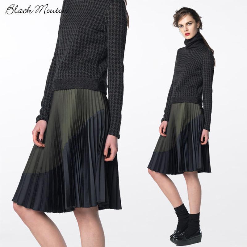 カラーコンビプリーツスカート   c/#GREEN×NAVY  75393-175