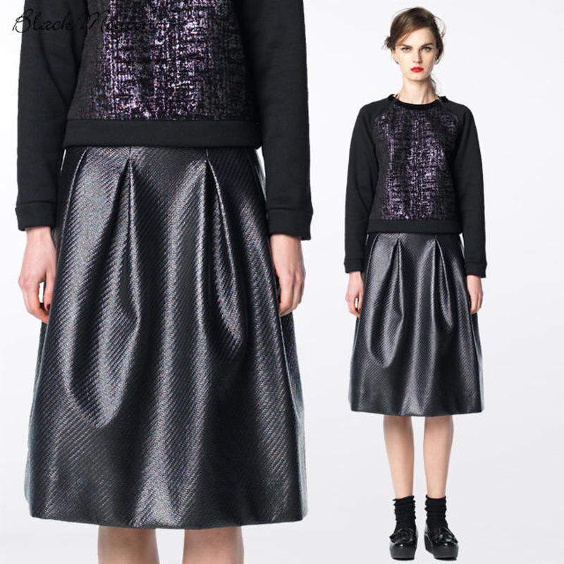 コーティングツイードスカート    c/#BLACK   75408-001
