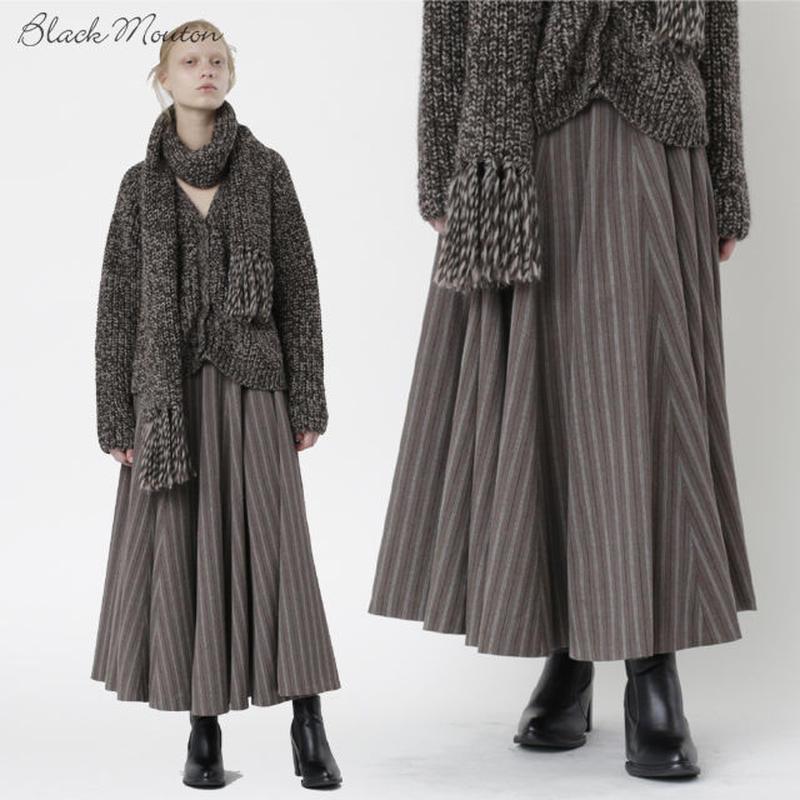 ストライプ16枚ハギフレアスカート   c/#BROWN  75494-007