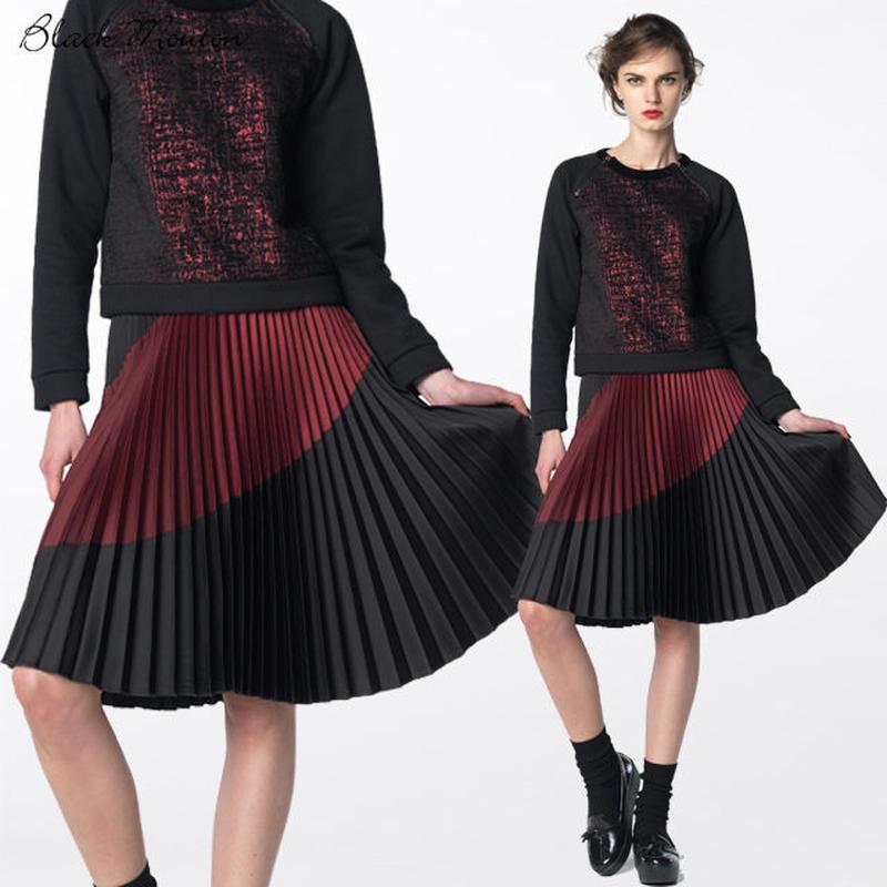カラーコンビプリーツスカート   c/#GARNET×BLACK  75393-174