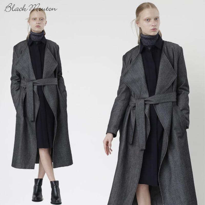ウールデニムガウン c/#BLACK  45508-001