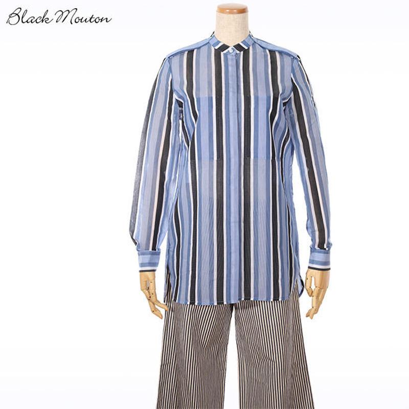 ワイドストライプシャツ    c/#BLUE 85700-105