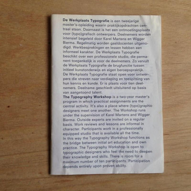Prospectus of Werklpaats Typographie