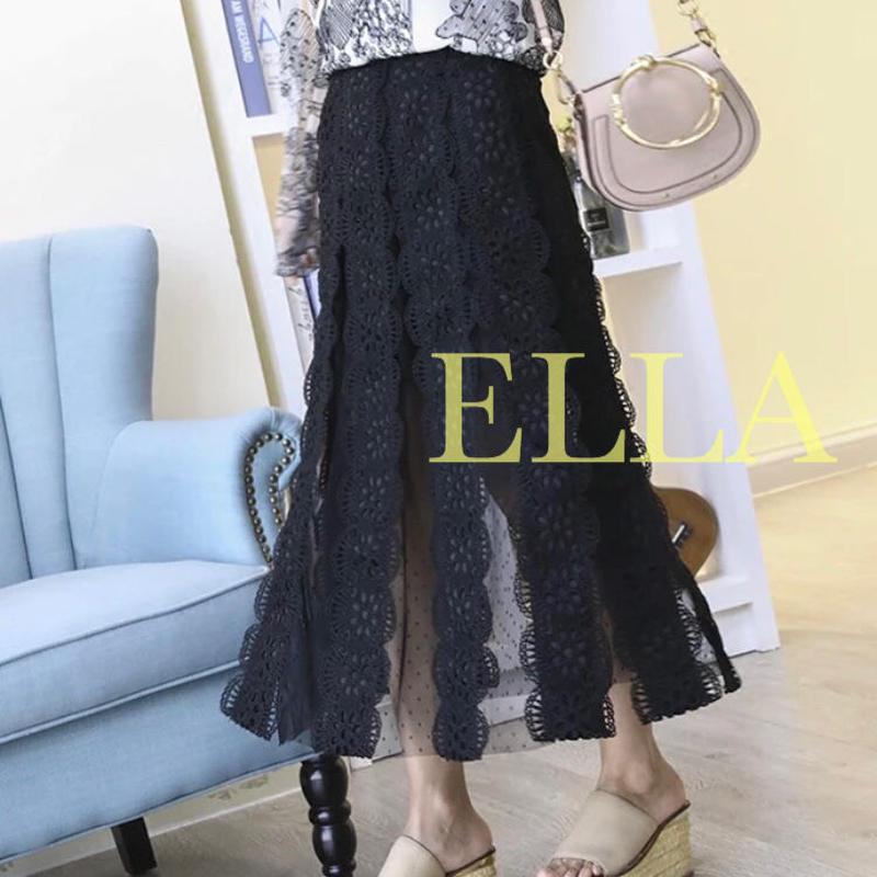 Lace A line skirt/BLK