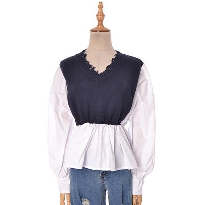 [1519tp]異素材切りっぱなしニットシャツ
