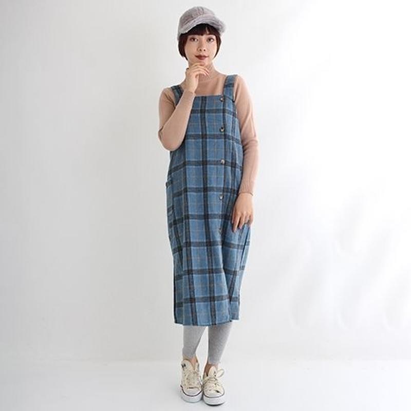 [1579op]チェック柄デザインボタンサロペットスカート