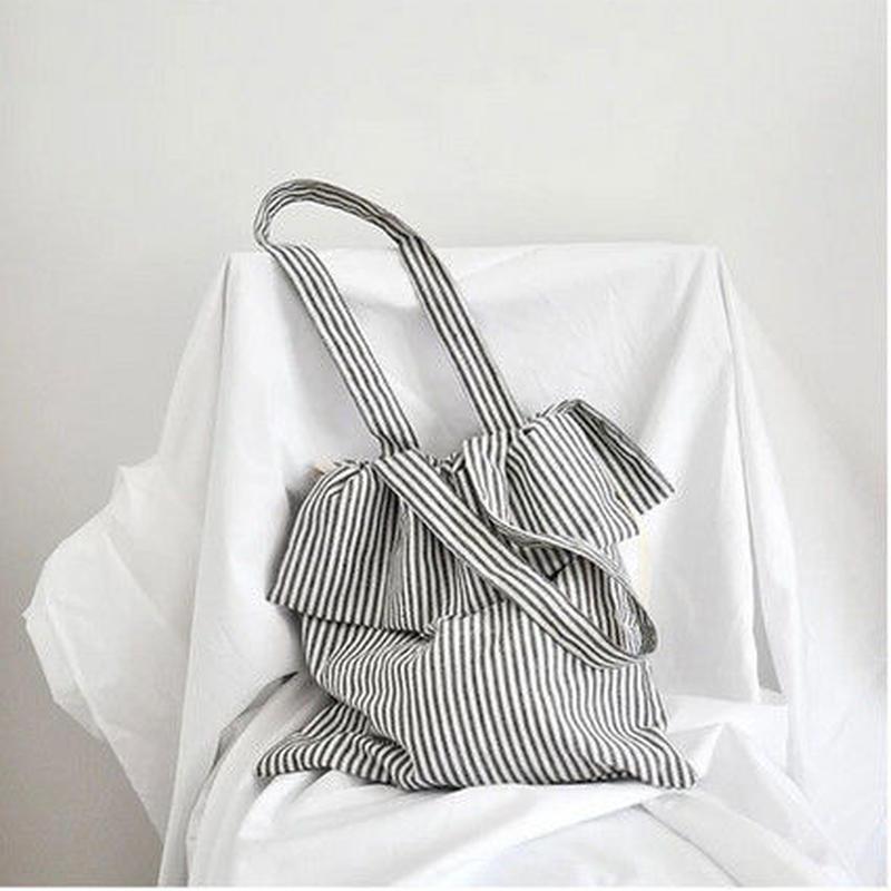 [1649bg]ストライプキャンバストートバッグ