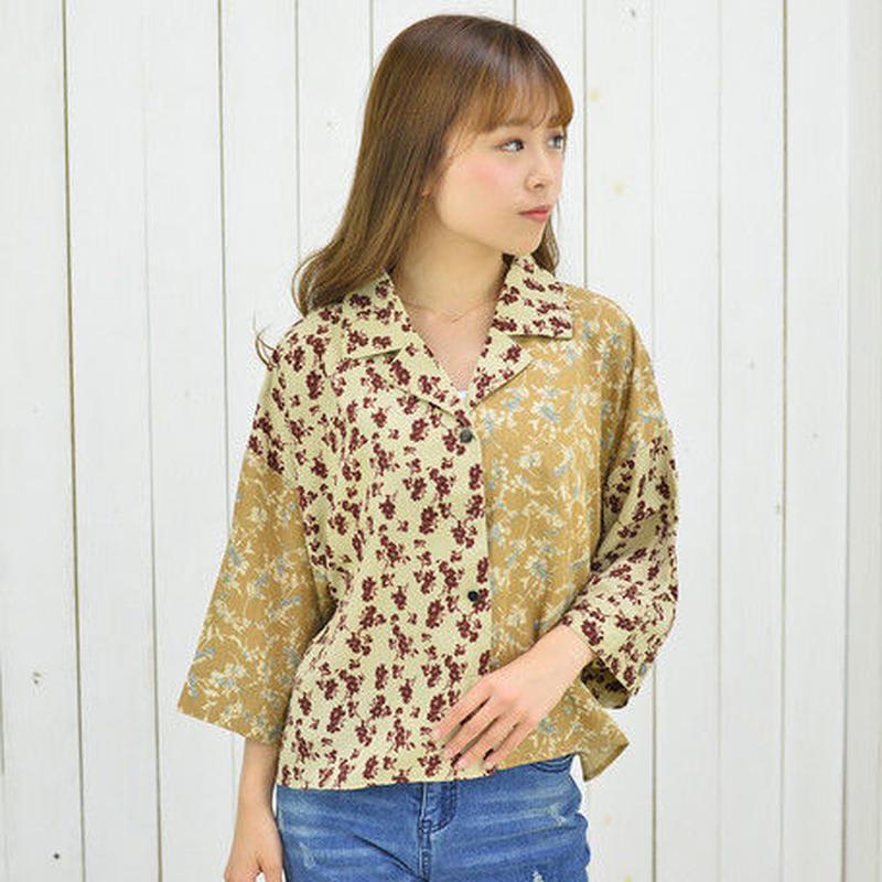[1795tp]花柄クレイジーパターン開衿シャツ