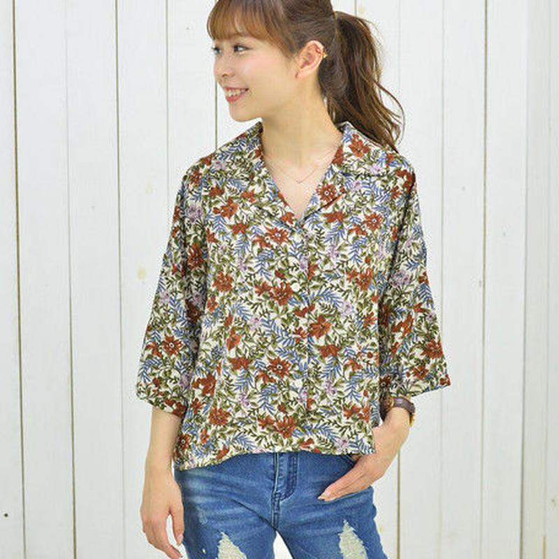 [1794tp]ボタニカル柄BIG開衿シャツ