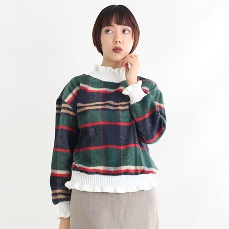 [1577tp]タータンチェック裾フリルトップス