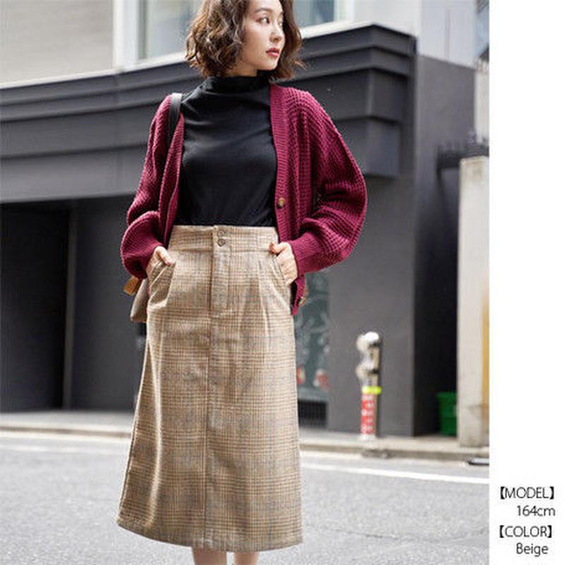 [1588sk]カラーチェック柄ハイウエストストレートスカート
