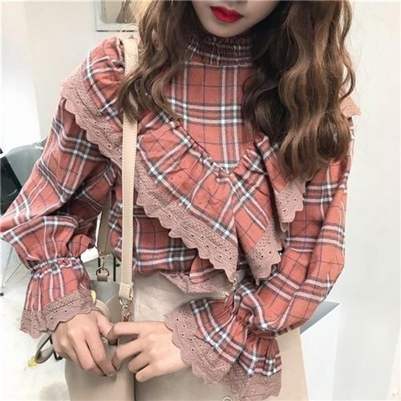 [1542tp]フリルチェック柄ボリューム袖シャツ
