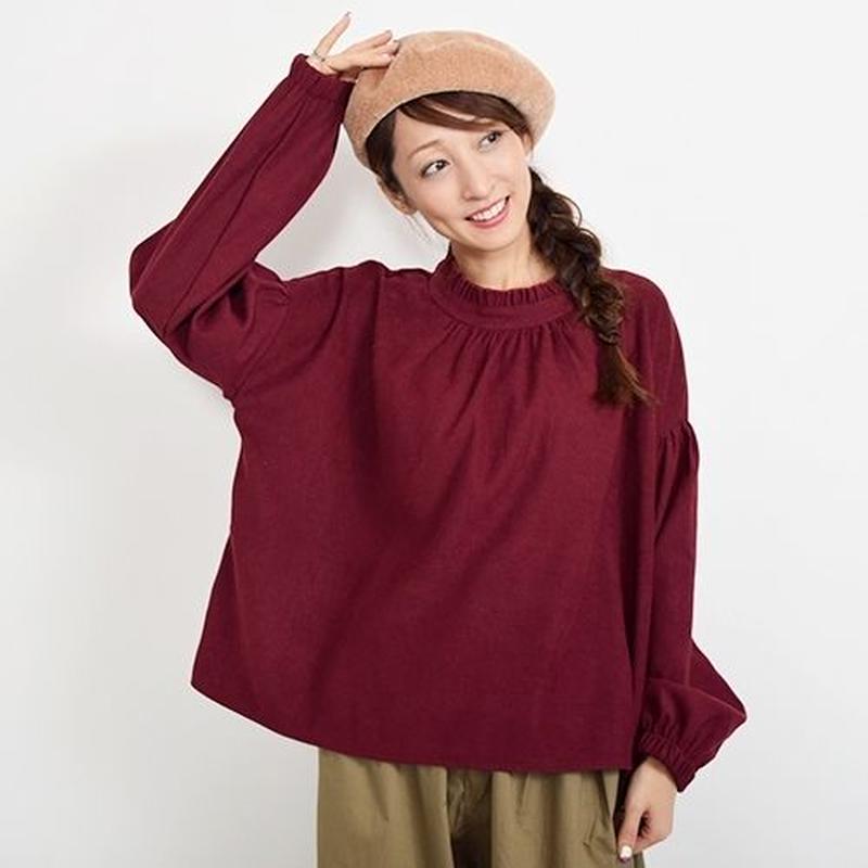 [1600tp]スエード素材スタンドカラーフリルシャツ