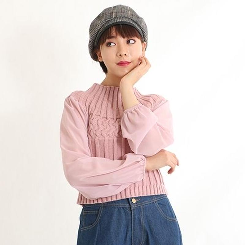 [1603tp]袖シースルーショート丈ニットトップス