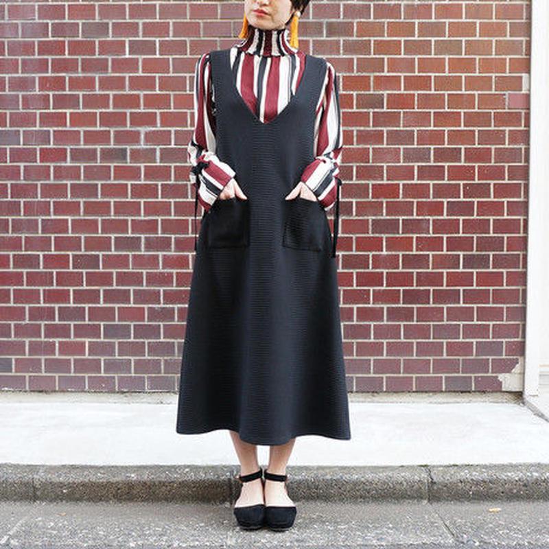 [1608op]変形編地オーバーワンピース