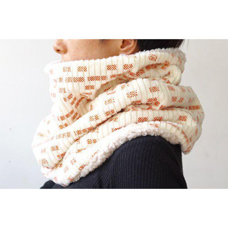 コーデュロイネックウォーマー [ White & Orange]/ sneeuw