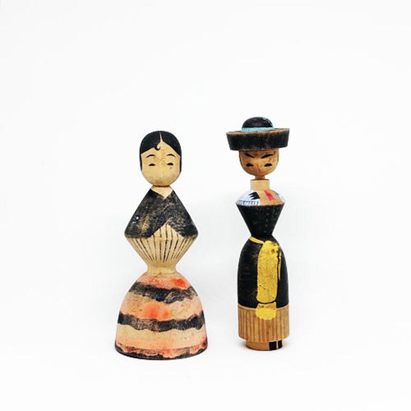 レトロドールペア/絵付け木製人形