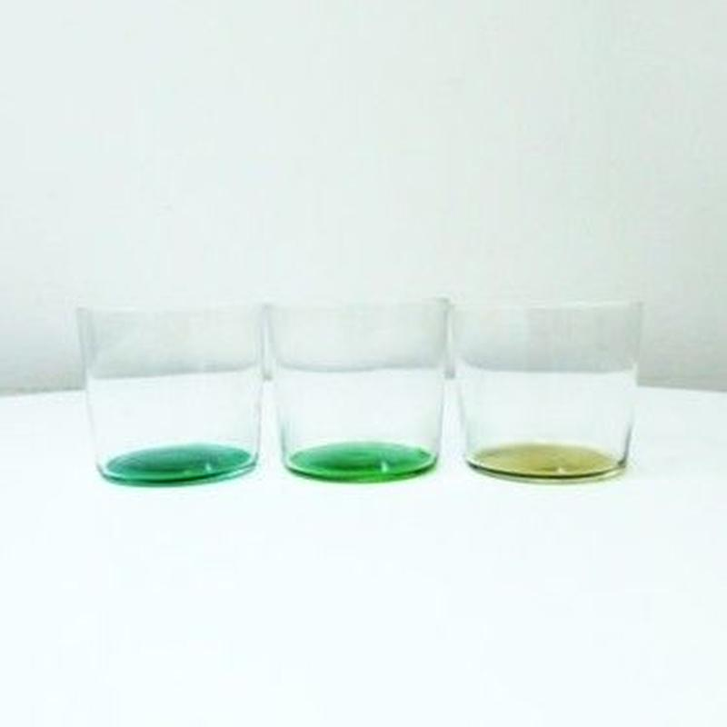 USED: 底がグリーンのグラス 3set