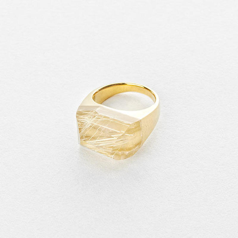 Rutile Quartz Rock Ring (Crystal)