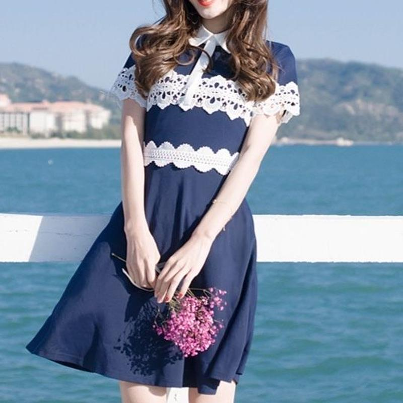 一部即納♡navy lace dress(No.300434)