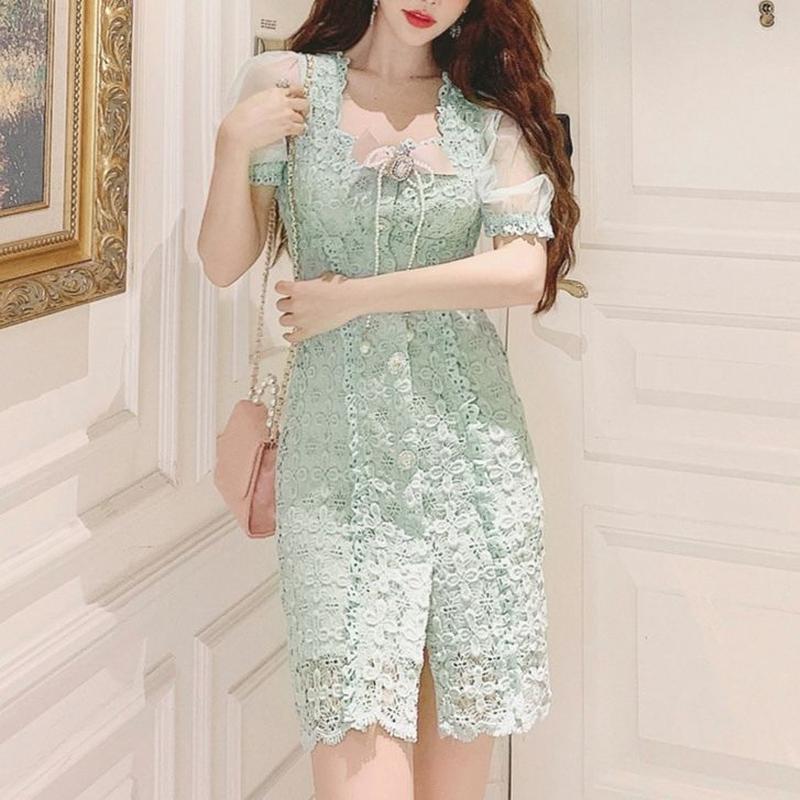 Fairy mint lace dress(No.300688)