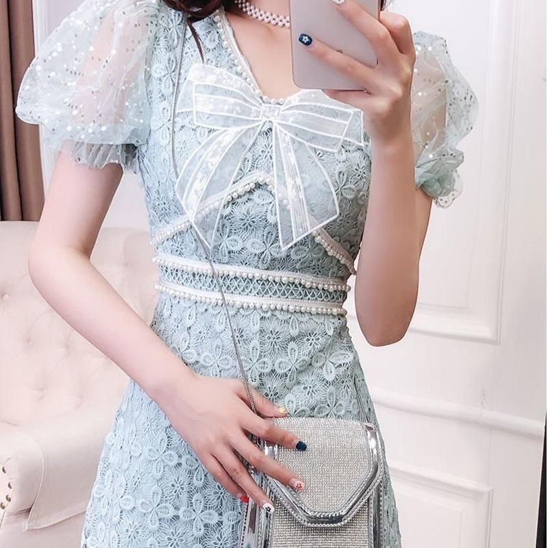 Round puff sleeve ribbon dress(No.300642)