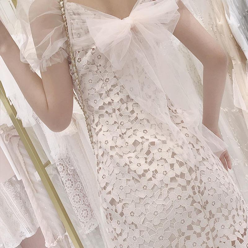 Back lacy ribbon dress(No.300658)