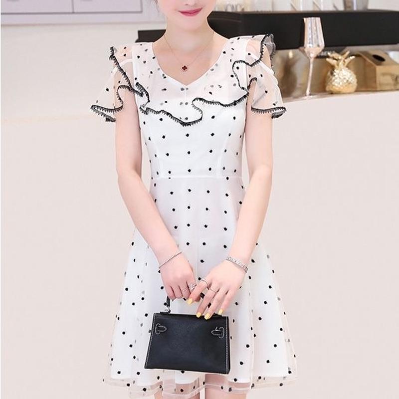 Ruffle frill dot lace dress(No.300649)