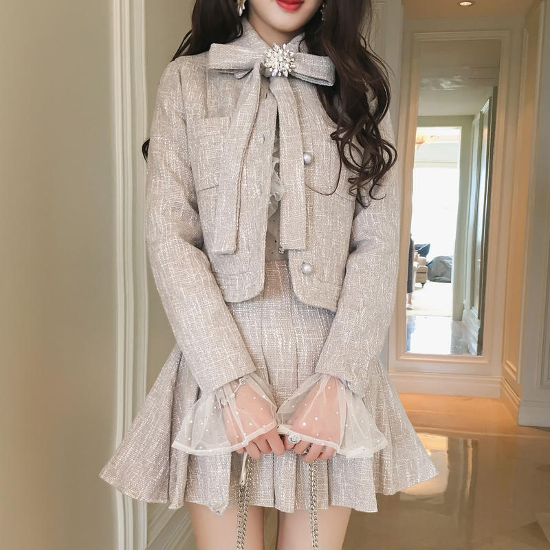 再入荷♡一部即納 ribbon jacket & skirt set-up(No.300483)