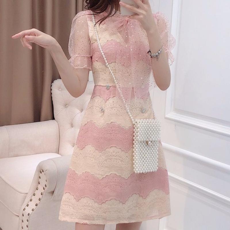 Fruity two color lace dress(No.300681)