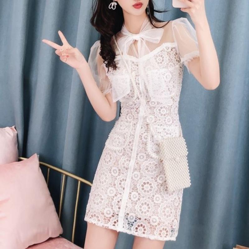 Flower lace docking dress(No.300654)