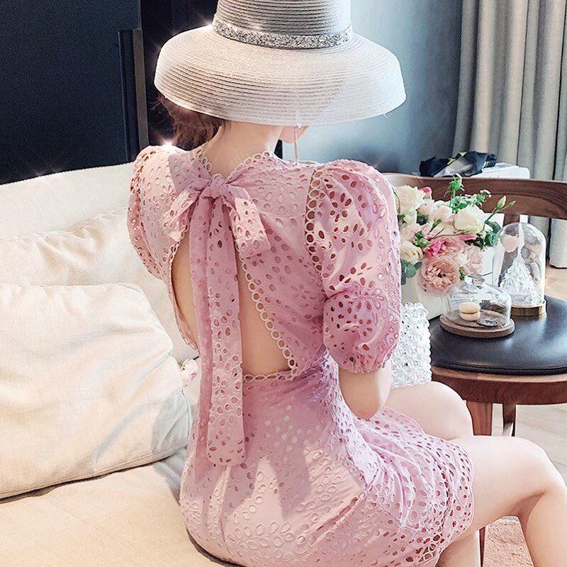 Back ribbon design lace dress(No.300680)