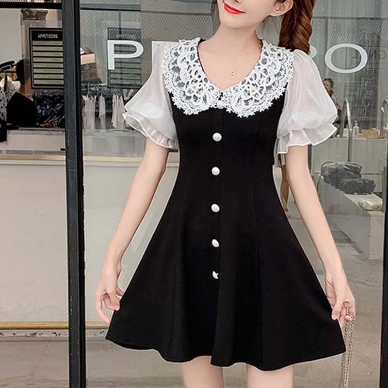 Round lace collar dress(No.300467)