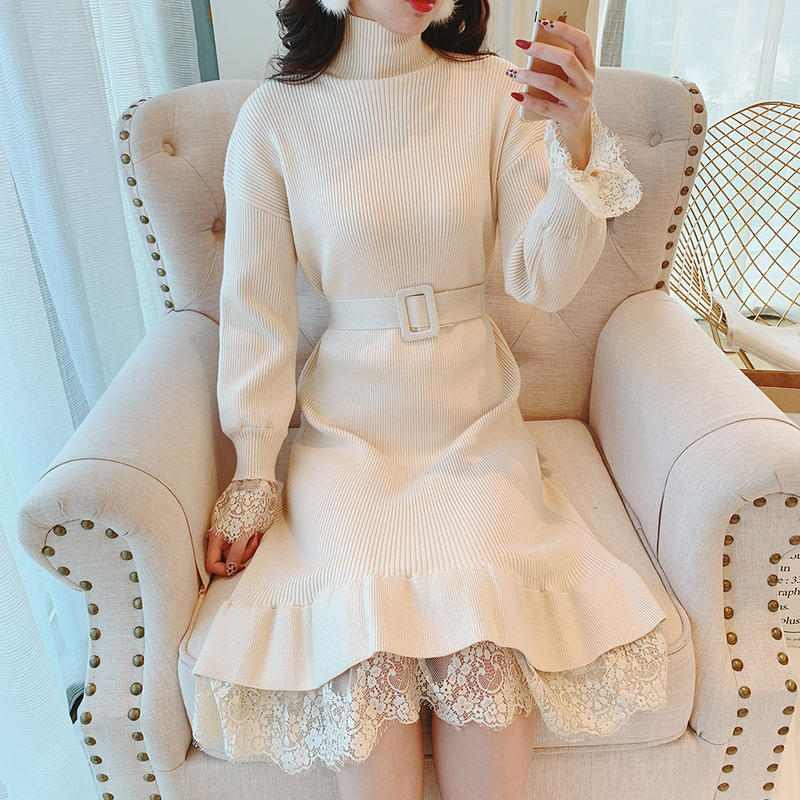 belted knit long OP(No.300533)