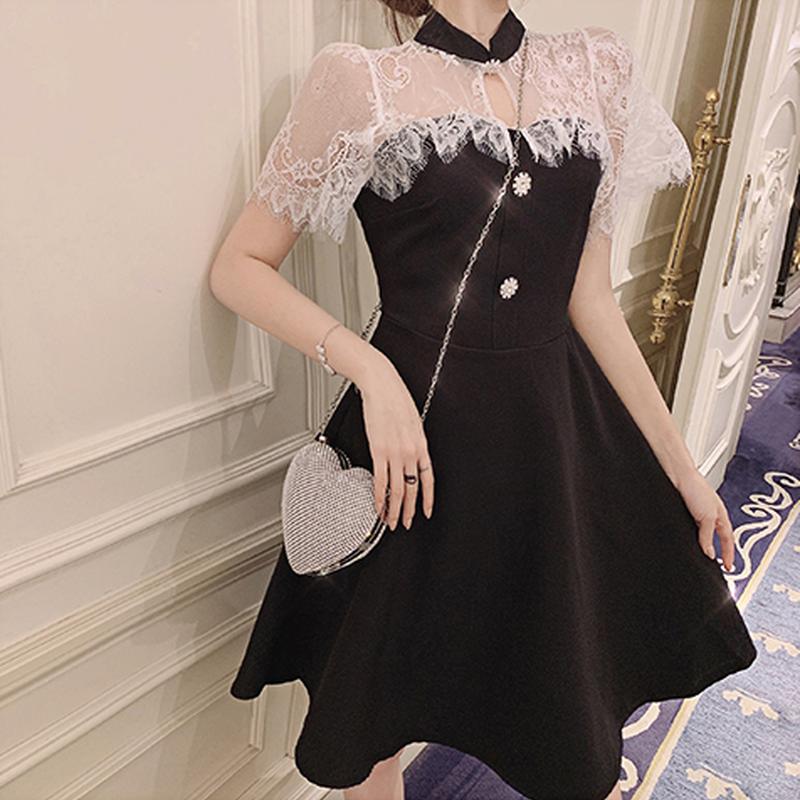 Lace cape docking dress(No.300691)