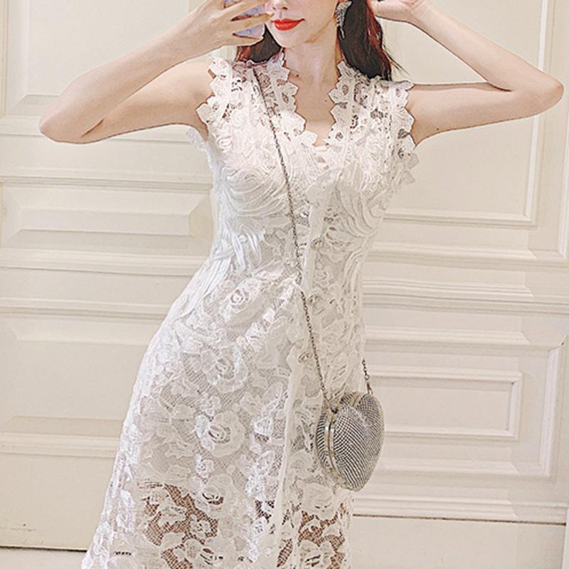Lady cutting lace long dress(No.300689)