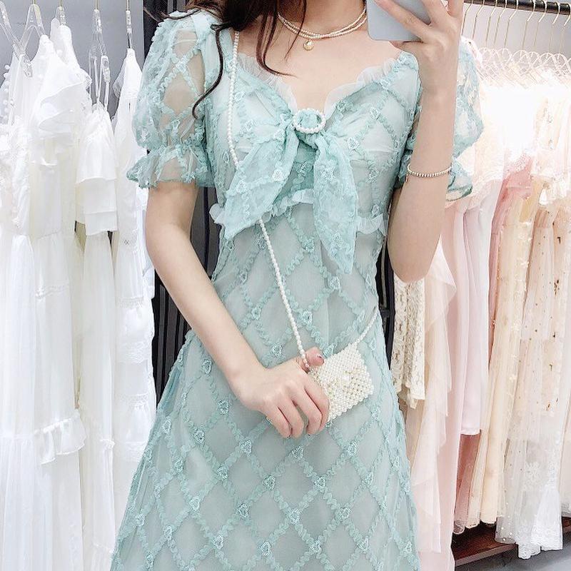 Idol look puff sleeve dress(No.300668)
