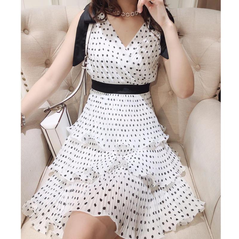 Cache-coeur dot ribbon shoulder dress(No.300684)
