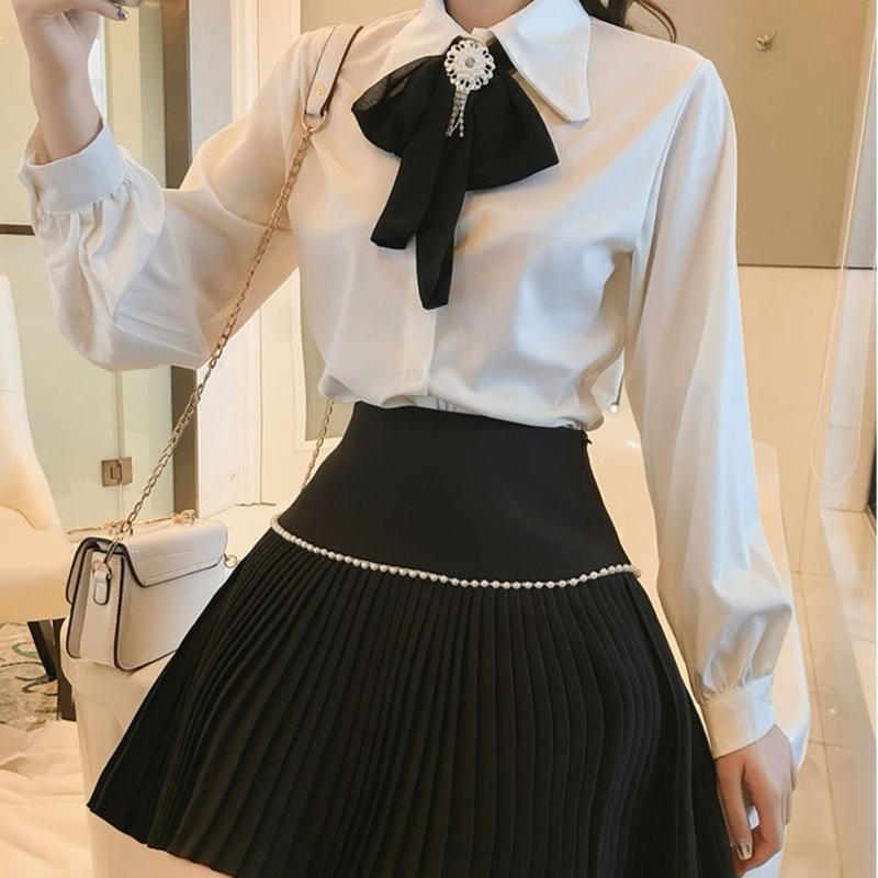 classic ribbon blouse & skirt set (No.300596)