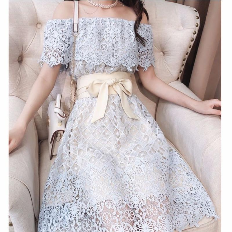 Dream lace off-shoulder long dress(No.300646)
