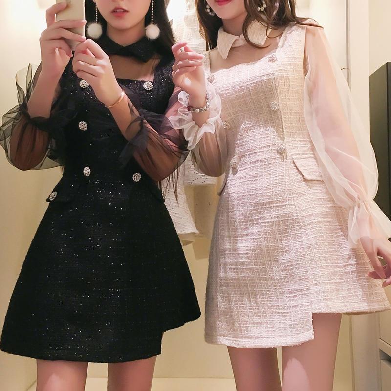 asymmetry tweed dress(No.300510)