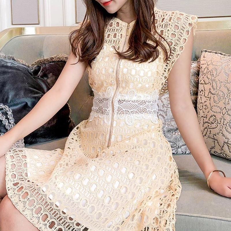 Cleam yellow tweed dress(No.300675)