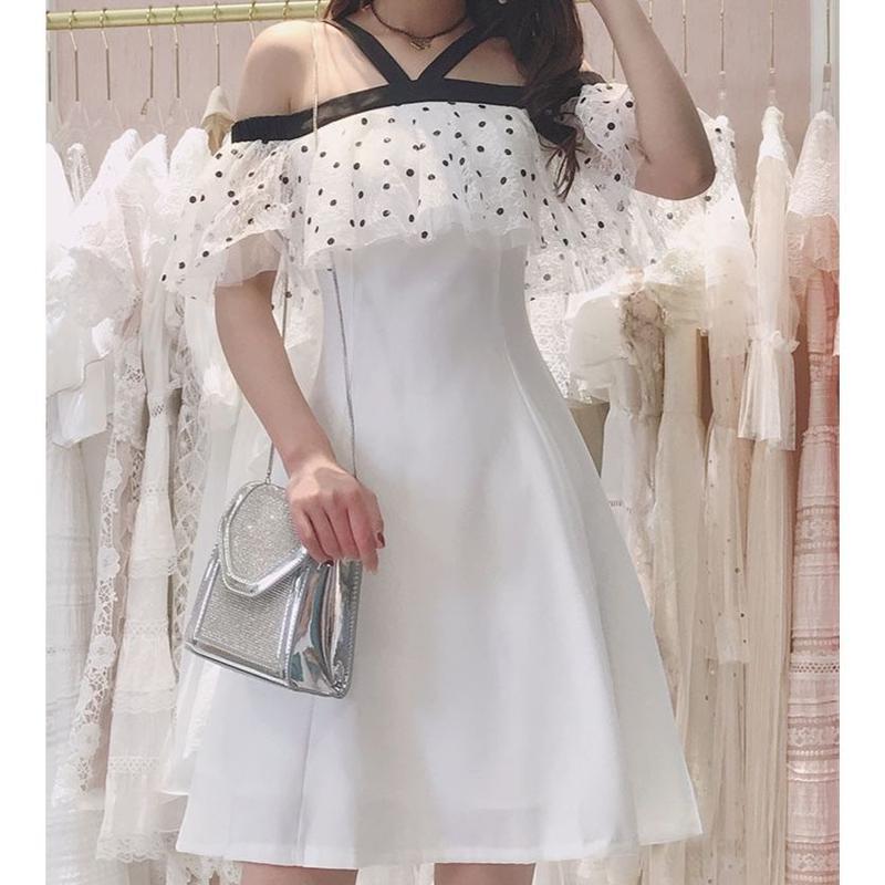 Dot lace flare dress(No.300665)