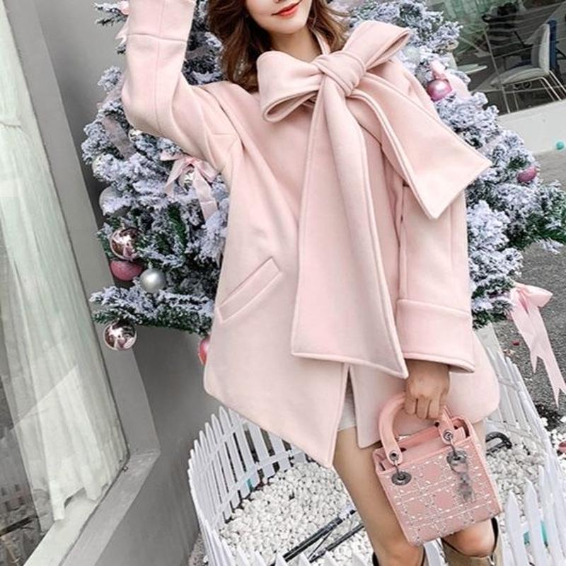 一部即納♡big ribbon melton coat (No.300565)